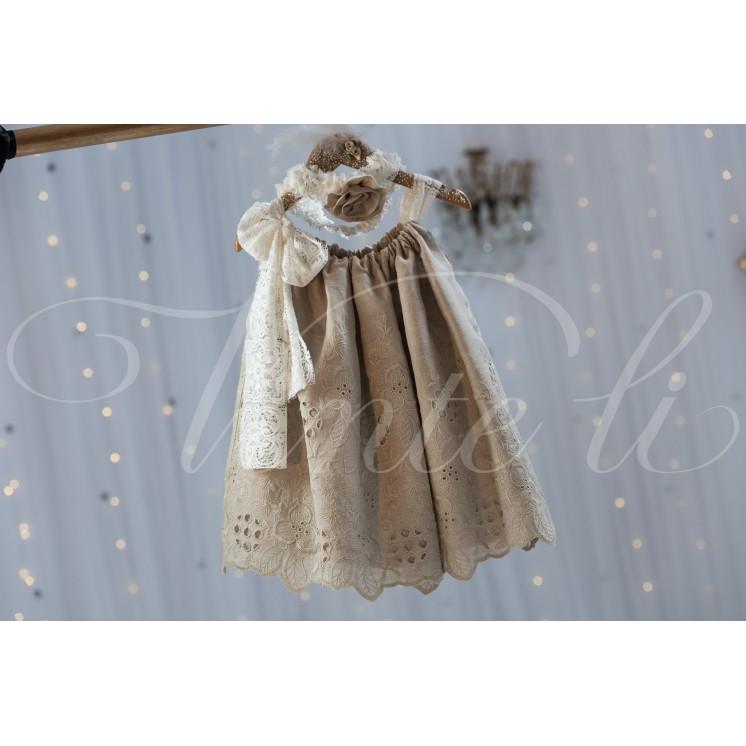 1e77ec49cd01 Φόρεμα κοφτό λινό και δαντέλα