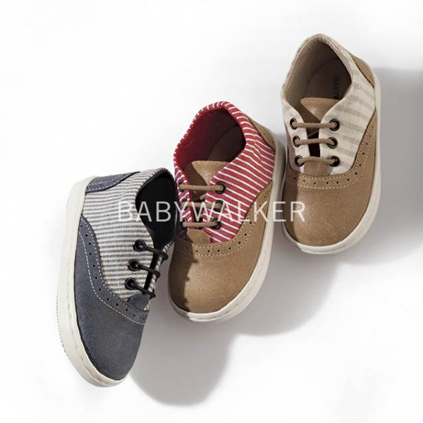 Canvas & leather lace-up sneakers